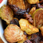 Oven Roasted Autumn Vegetables with Acorn Squash and Brussels Sprouts
